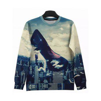 Round Neck Long Sleeve 3D Abstract High-Heeled Shoes and City Print Sweatshirt
