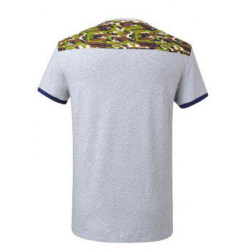 Camo Spliced V-Neck Short Sleeve T-Shirt - GRAY 3XL
