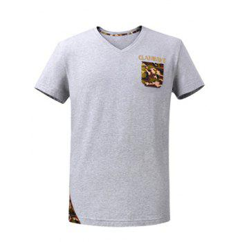 Rhinestone Embellished V-Neck Short Sleeve Camo Spliced T-Shirt