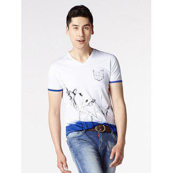 V-Neck Short Sleeve Floral Painting T-Shirt - WHITE 2XL
