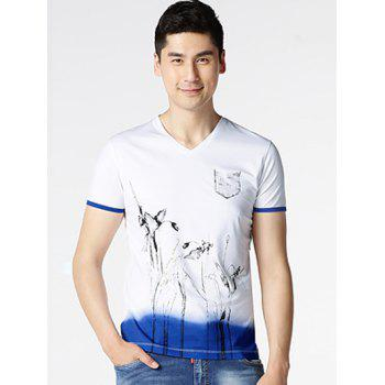 V-Neck Short Sleeve Floral Painting T-Shirt