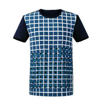 Round Neck Short Sleeve Plaid T-Shirt