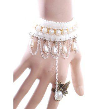 Faux Pearl Butterfly Bracelet With Ring