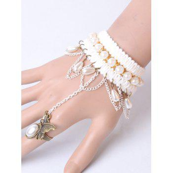 Faux Pearl Butterfly Bracelet With Ring - WHITE