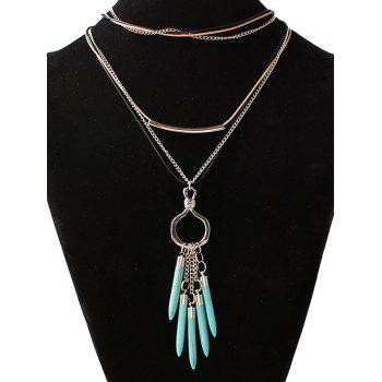 Faux Turquoise Bullet Shape Sweater Chain