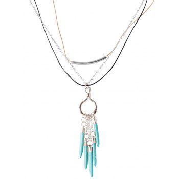 Faux Turquoise Bullet Forme chaîne Pull - Argent