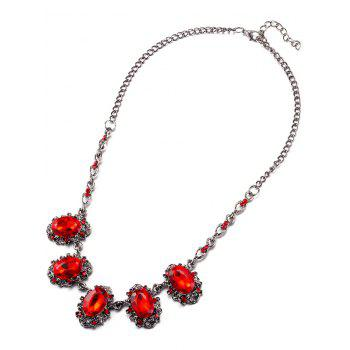 Faux Crystal Rhinestone Oval Necklace - RED