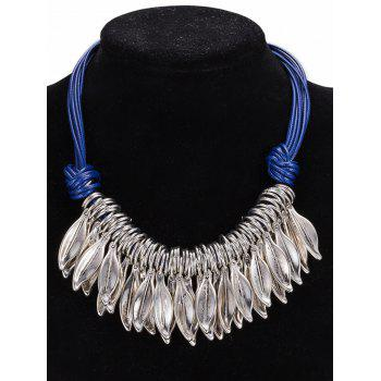 Faux Leather Rope Leaf Pendant Necklace - BLUE