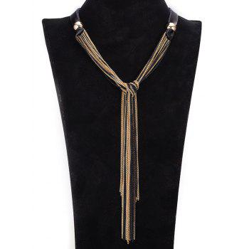 Faux Leather Alloy Chains Necklace - GOLDEN