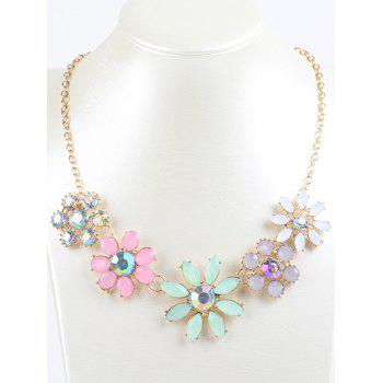 Faux Crystal Rhinestone Sunflower Pendant Necklace - COLORMIX