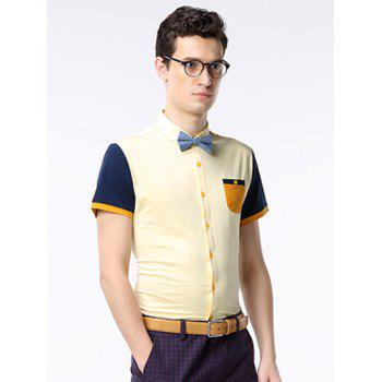 Breast manches courtes Pocket Color Splicing Shirt - Jaune L