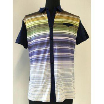 Short Sleeve Breast Pocket Multicolor Striped Spliced Shirt