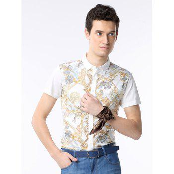 Turn-down Collar Short Sleeve Chains Print Shirt