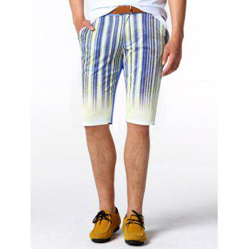 Striped Zipper Fly Knee Length Shorts