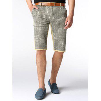 Imprimer Spliced ​​Zipper Fly genou Shorts - Kaki 30