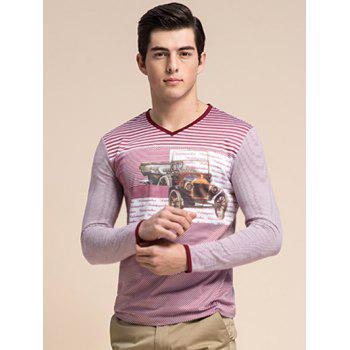 3D Vintage Car Print V-Neck Long Sleeve Striped T-Shirt
