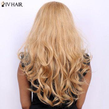 Wavy Long Fluffy Centre Parting Real Natural Hair Siv Wig - BLONDE/AUBURN BROWN