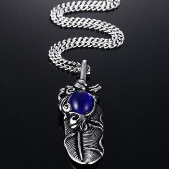 Feather Faux Gemstone Pendant Necklace - SILVER