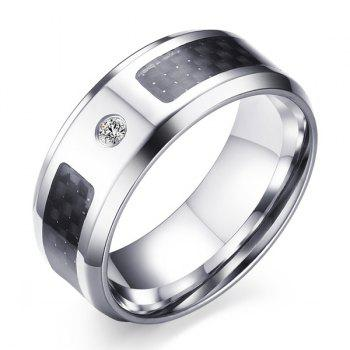 Faux Zircon Carbon Fiber Ring