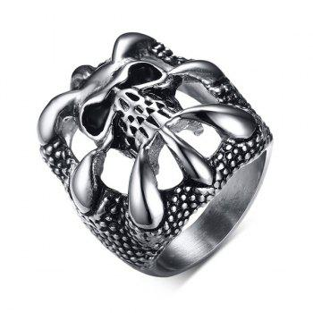 Carving Skull Etched Stainless Steel Ring