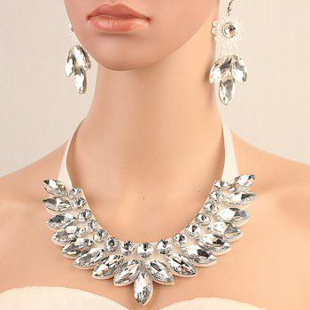 Trendy Artificial Crystal Floral Bib Necklace Set