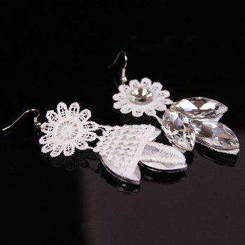 Trendy Artificial Crystal Floral Bib Necklace Set - WHITE