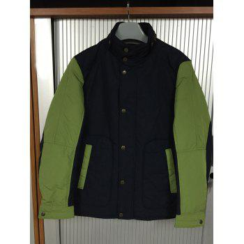 Color Spliced Stand Collar Padded Jacket