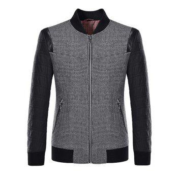 Small Plaid Pattern Splicing Stand Collar Jacket