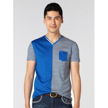 Striped Spliced Pocket Design V-Neck T-Shirt