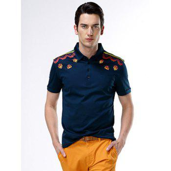 Short Sleeve Turn-Down Collar Abstract Printed Polo Shirt