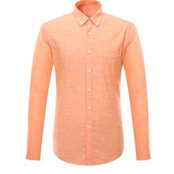 Long Sleeve Button-Down Pocket Design Shirt