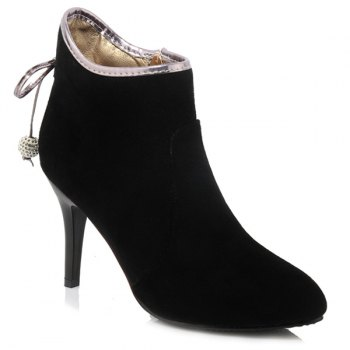 Zip Bowknot Faux Pearl Ankle Boots - BLACK 38