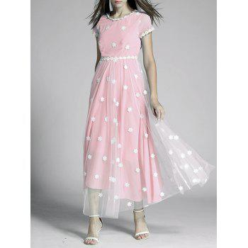 Flowers Tulle Spliced High Waist Maxi Dress