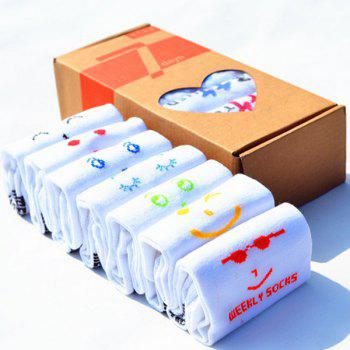 7 Pairs of Casual Various Smile Faces Pattern Socks - WHITE WHITE