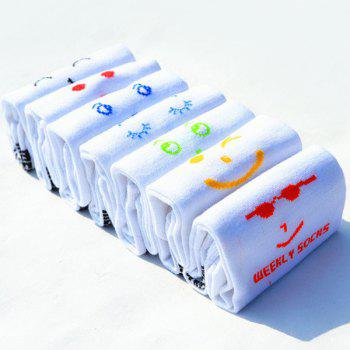 7 Pairs of Casual Various Smile Faces Pattern Socks -  WHITE