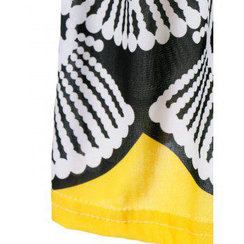 High Waist Tribe Print Cut Out Dress - YELLOW ONE SIZE(FIT SIZE XS TO M)