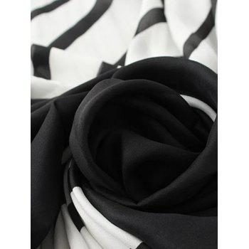 Soft Stripe Pattern Pashmina - WHITE/BLACK