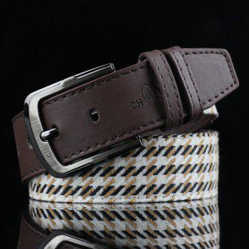 Brief Style Pin Buckle Stripe and Plaid Embroidery PU Belt