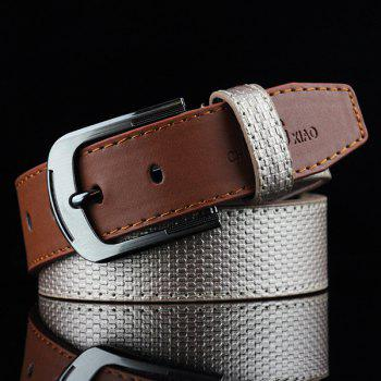 Brief Style Color Block Embossed PU Belt