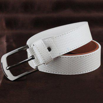 Brief Style Color Block Embossed PU Belt - WHITE
