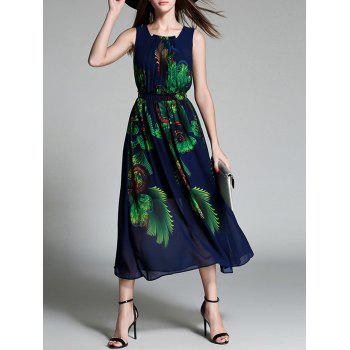 Printed Pleated Chiffon Tea-Length Dress