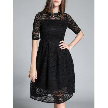 Crochet Openwork High Waist Flare Dress