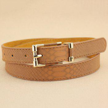 Lady Brief Style Pin Buckle PU Crocodile Belt
