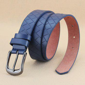 Lady Brief Style Pin Buckle PU Brick Plaid Embossed Belt - DEEP BLUE