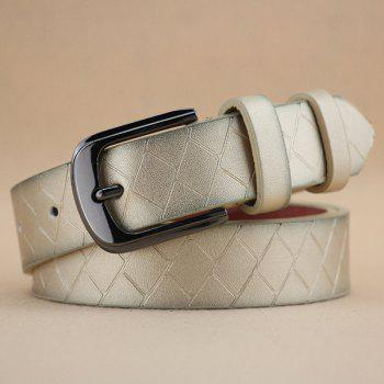 Lady Brief Style Pin Buckle PU Brick Plaid Embossed Belt