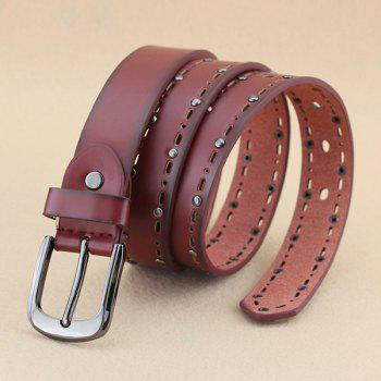 Lady Brief Style Pin Buckle Rivet Embellished Cut Out PU Belt - WINE RED
