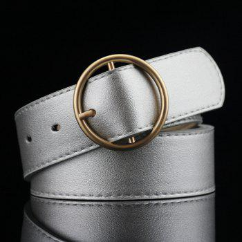 Lady Brief Style Round Pin Buckle PU Belt