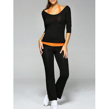 Crop Tank Top and T-Shirt and Drawstring Pants Yoga Suit