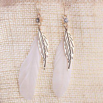 Rhinestone Leaf Feather Embellished Drop Earrings - WHITE