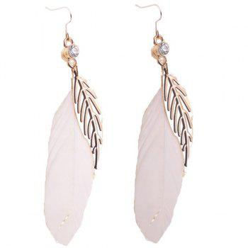 Rhinestone Leaf Feather Embellished Drop Earrings